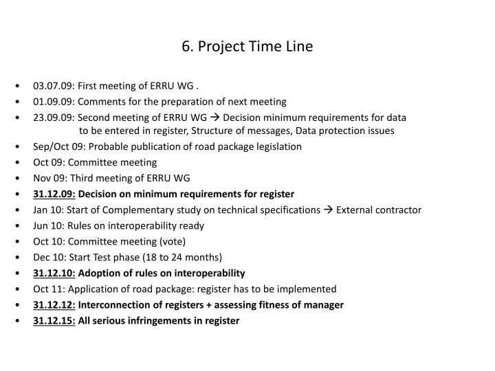 6. Project Time Line