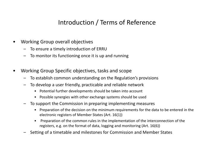 Introduction / Terms of Reference