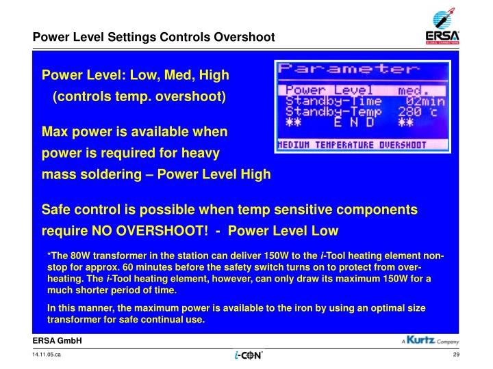 Power Level Settings Controls Overshoot
