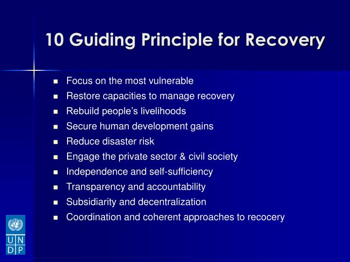 10 Guiding Principle for Recovery