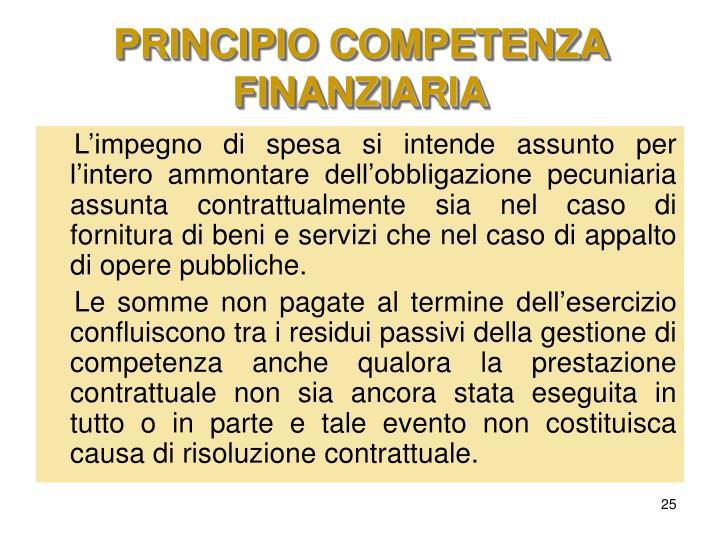 PRINCIPIO COMPETENZA FINANZIARIA
