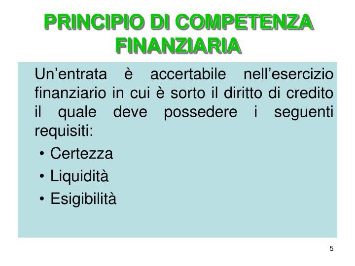 PRINCIPIO DI COMPETENZA FINANZIARIA