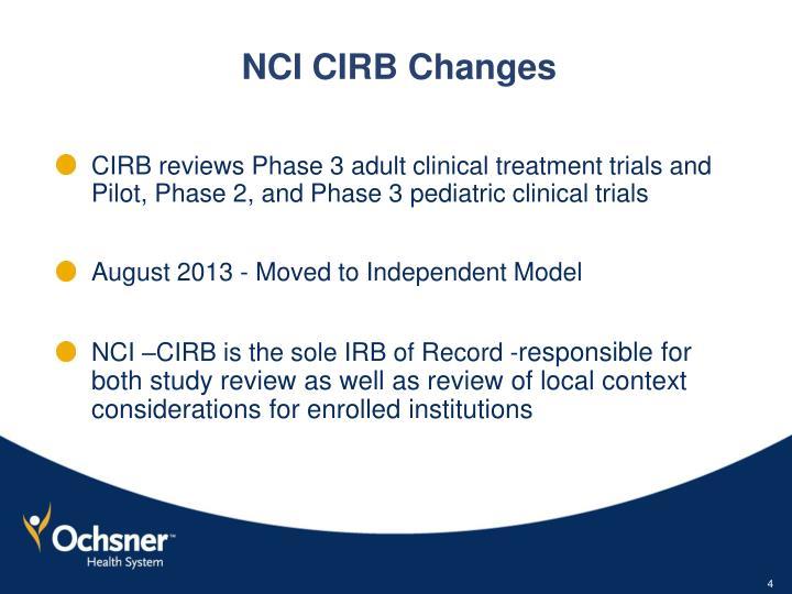 NCI CIRB Changes