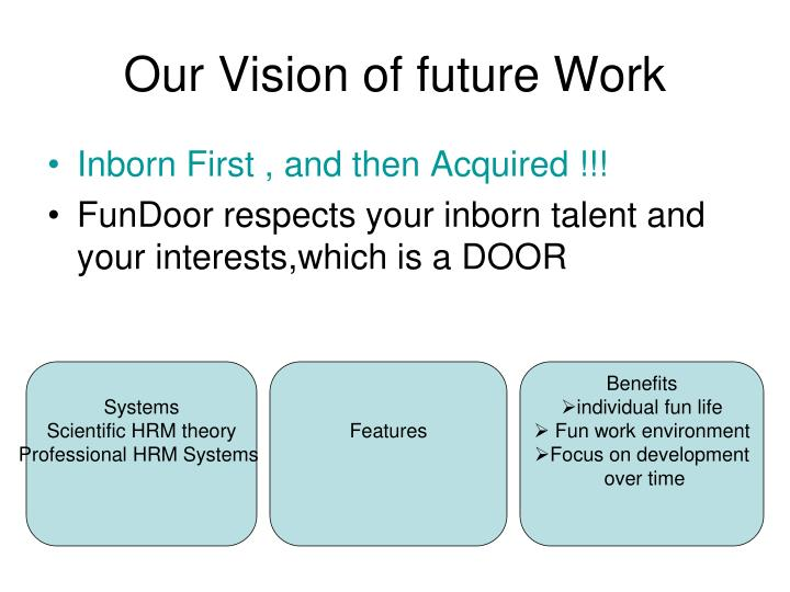 Our Vision of future Work