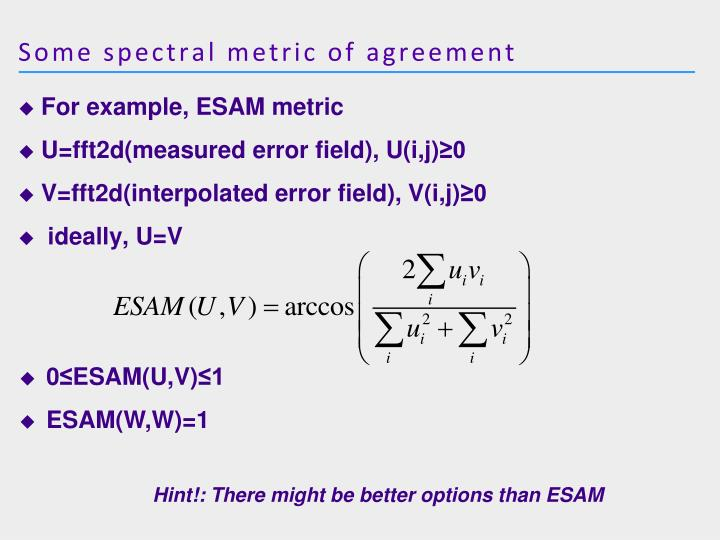 Some spectral metric of agreement