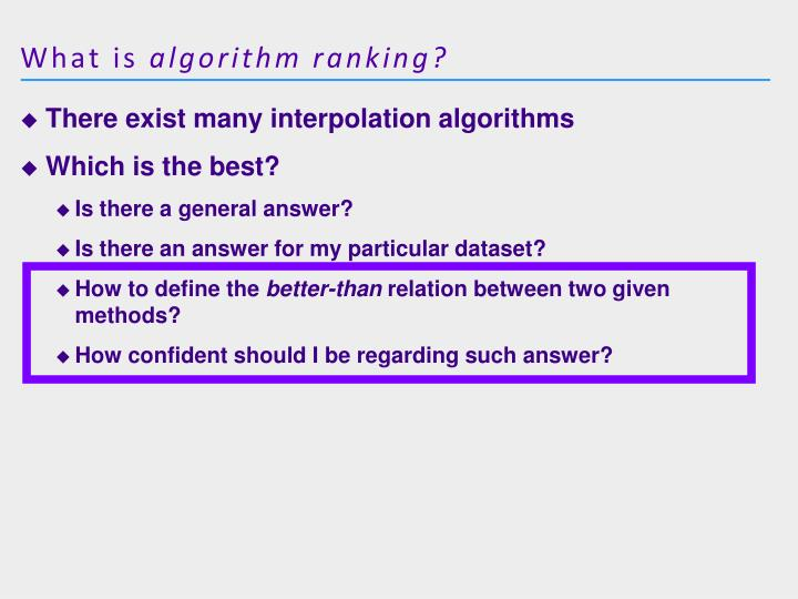 What is algorithm ranking