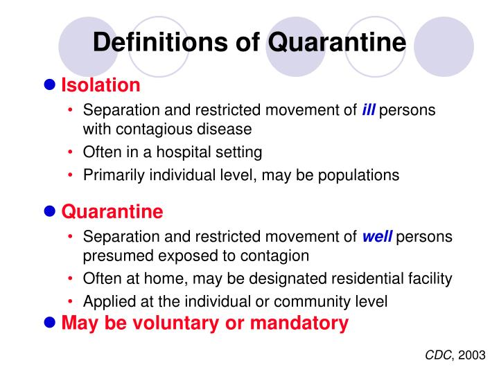 Definitions of Quarantine