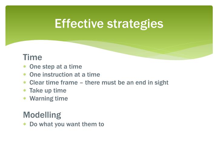 Effective strategies