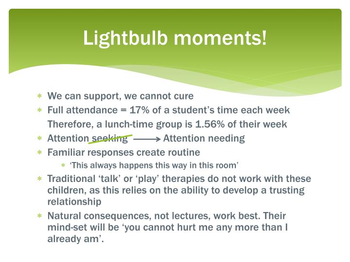 Lightbulb moments!