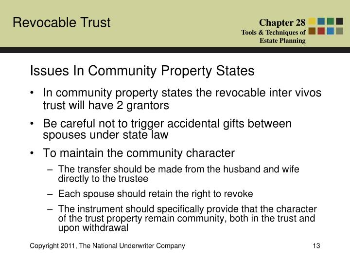 Issues In Community Property States