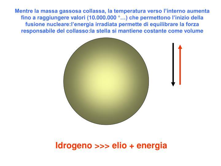 Mentre la massa gassosa collassa, la temperatura verso l'interno aumenta