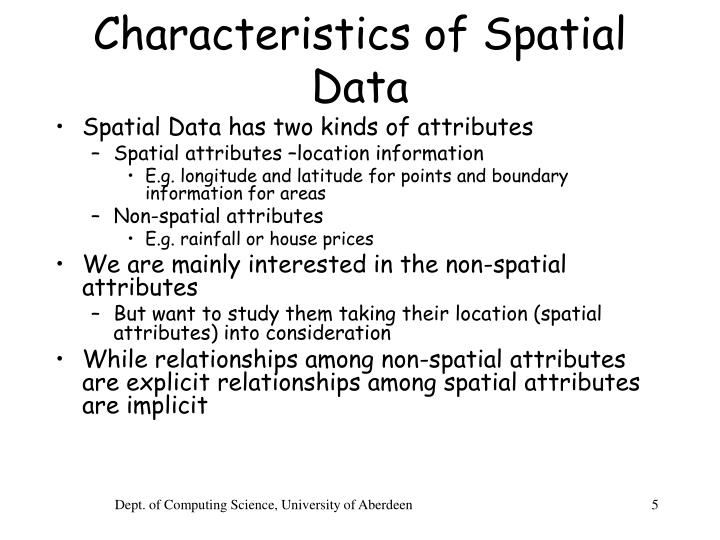 Characteristics of Spatial Data