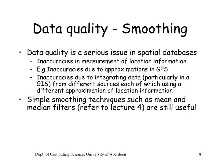 Data quality - Smoothing