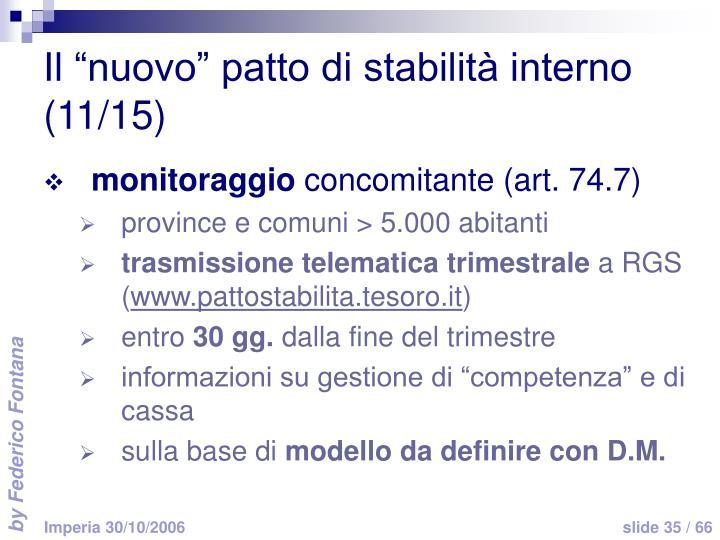 """Il """"nuovo"""" patto di stabilità interno (11/15)"""