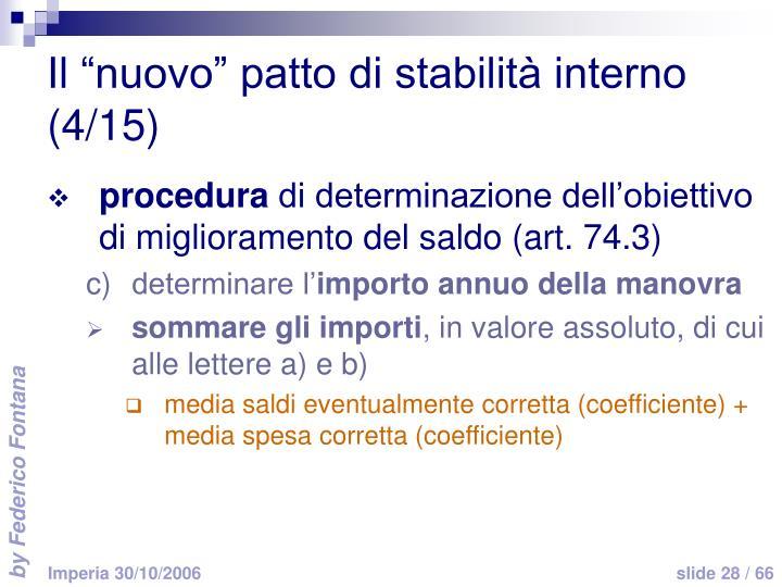 """Il """"nuovo"""" patto di stabilità interno (4/15)"""