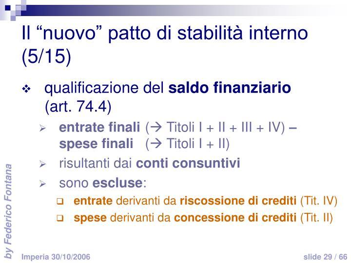 """Il """"nuovo"""" patto di stabilità interno (5/15)"""