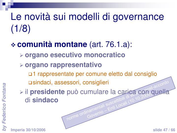 Le novità sui modelli di governance (1/8)