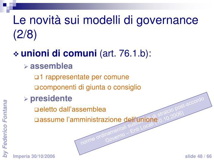 Le novità sui modelli di governance (2/8)