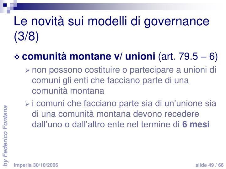 Le novità sui modelli di governance (3/8)