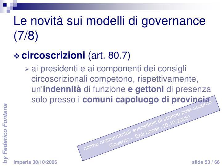 Le novità sui modelli di governance (7/8)