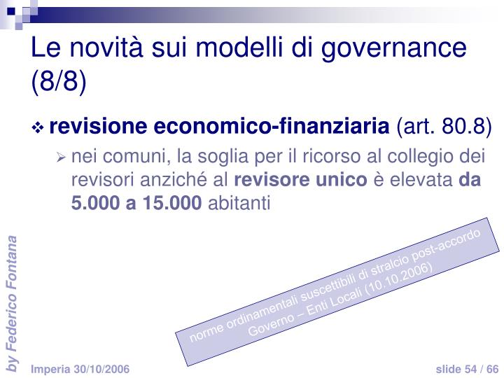 Le novità sui modelli di governance (8/8)