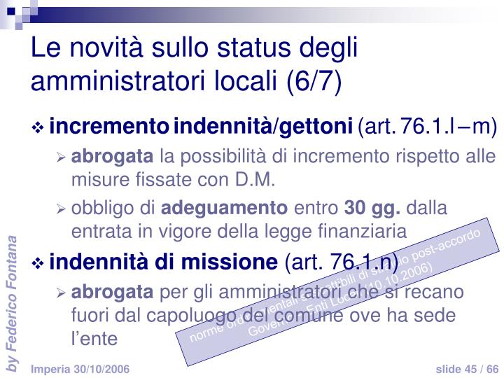 Le novità sullo status degli amministratori locali (6/7)