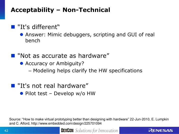 Acceptability – Non-Technical