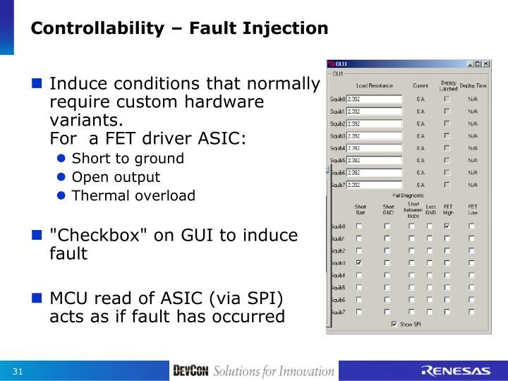 Controllability – Fault Injection