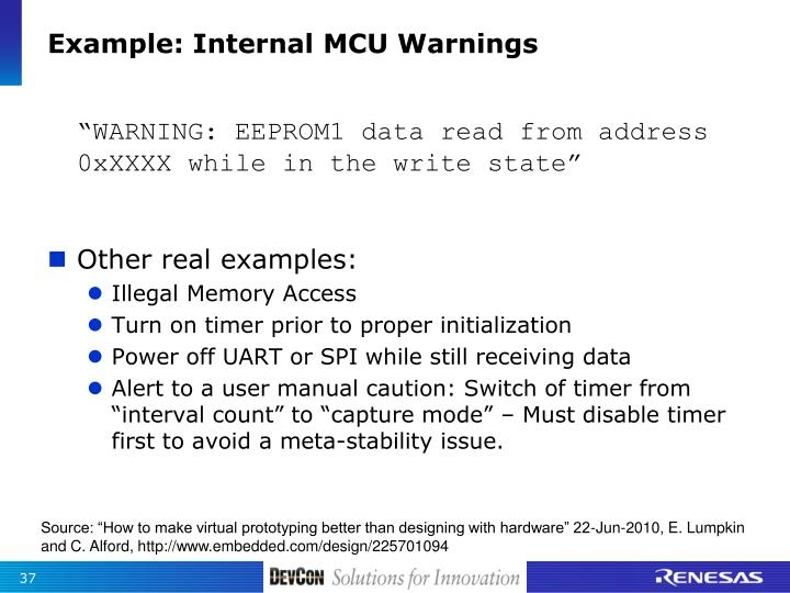 Example: Internal MCU Warnings