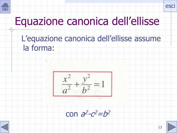 Equazione canonica dell'ellisse