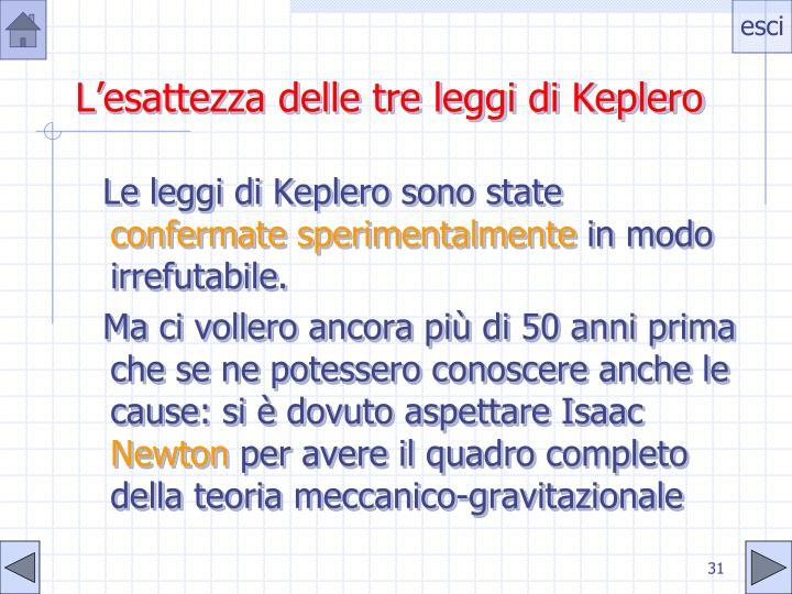 L'esattezza delle tre leggi di Keplero