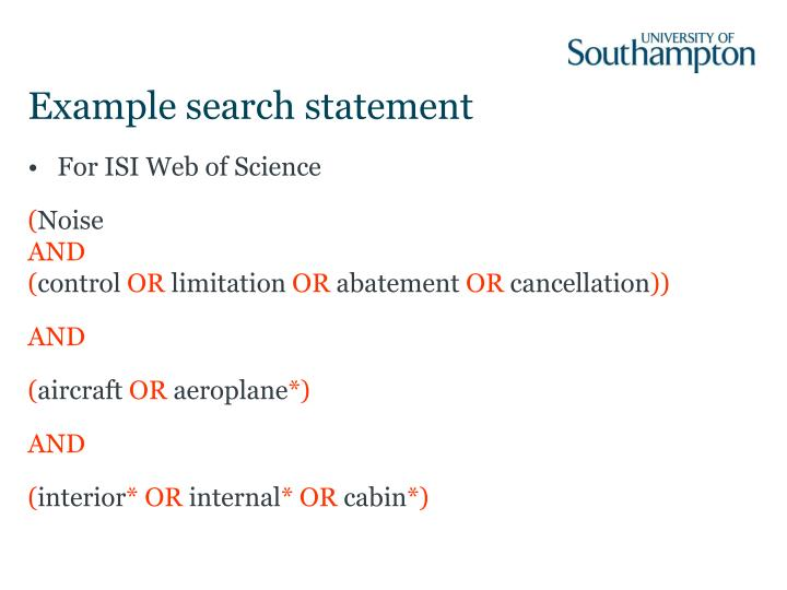 Example search statement