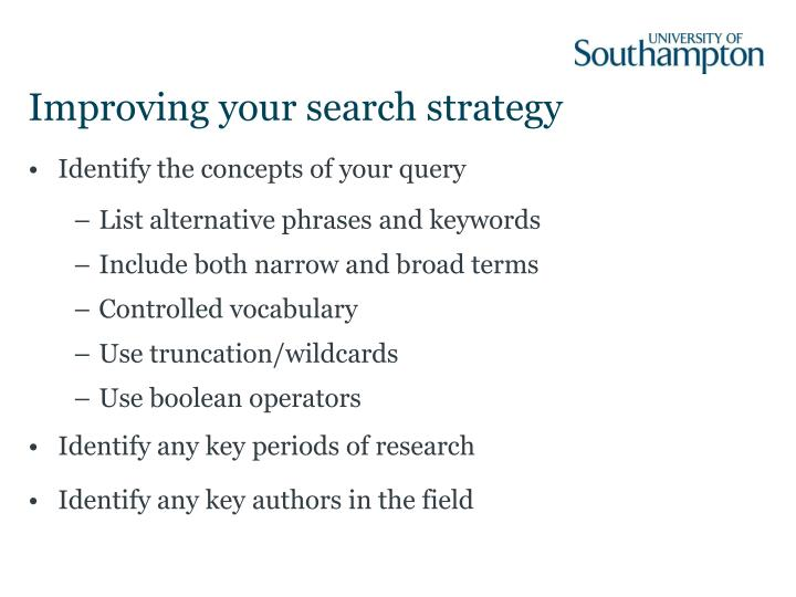 Improving your search strategy