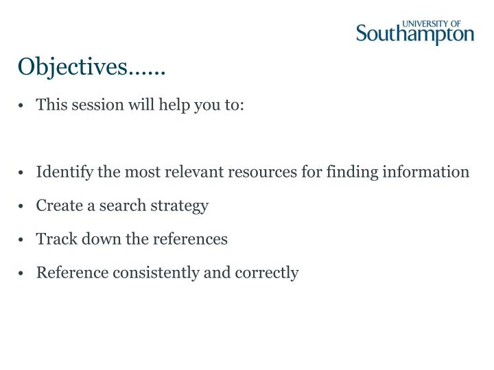Objectives…...