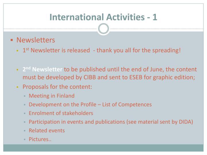 International Activities - 1