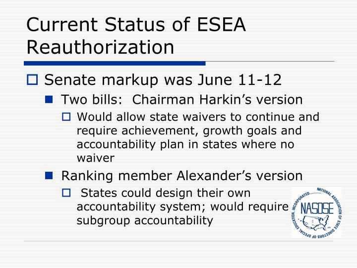 Current Status of ESEA Reauthorization