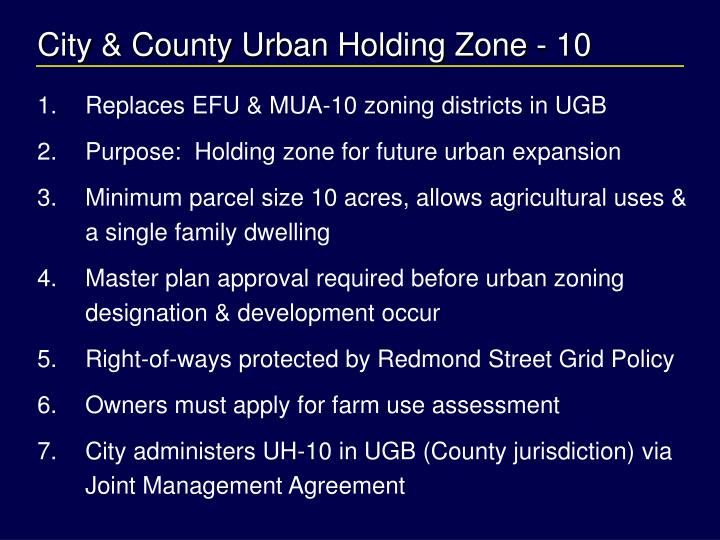 City & County Urban Holding Zone - 10
