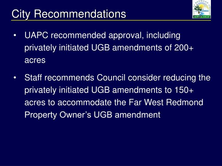 City Recommendations