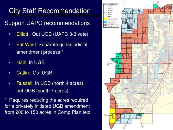 City Staff Recommendation