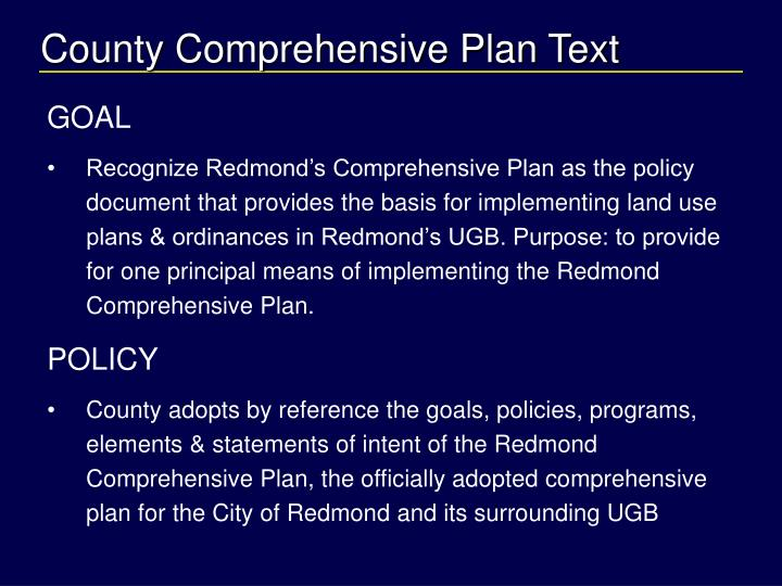 County Comprehensive Plan Text