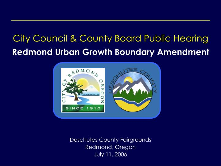 City Council & County Board Public Hearing