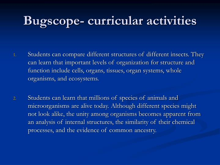 Bugscope- curricular activities