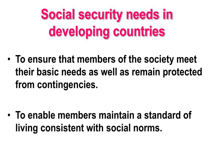 Social security needs in developing countries