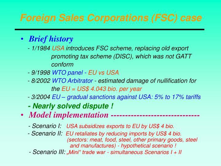 Foreign Sales Corporations (FSC) case