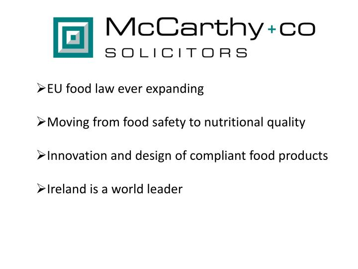 EU food law ever expanding