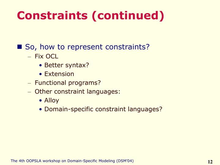 Constraints (continued)
