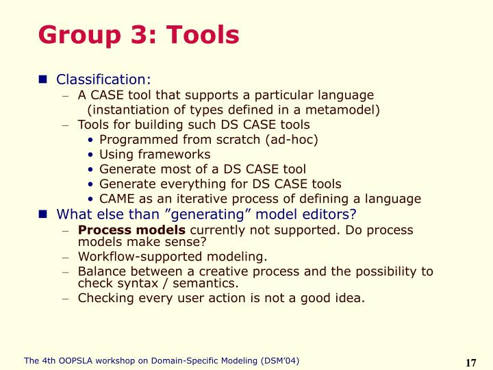 Group 3: Tools