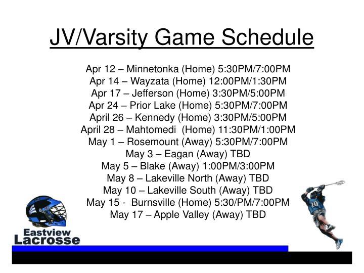 JV/Varsity Game Schedule