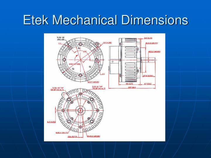 Etek Mechanical Dimensions