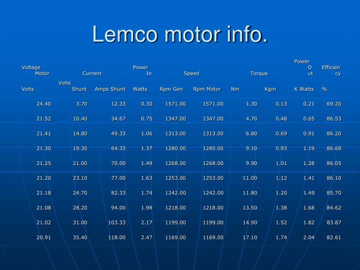 Lemco motor info.